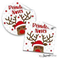Personalised Christmas Stickers Reindeer Noses