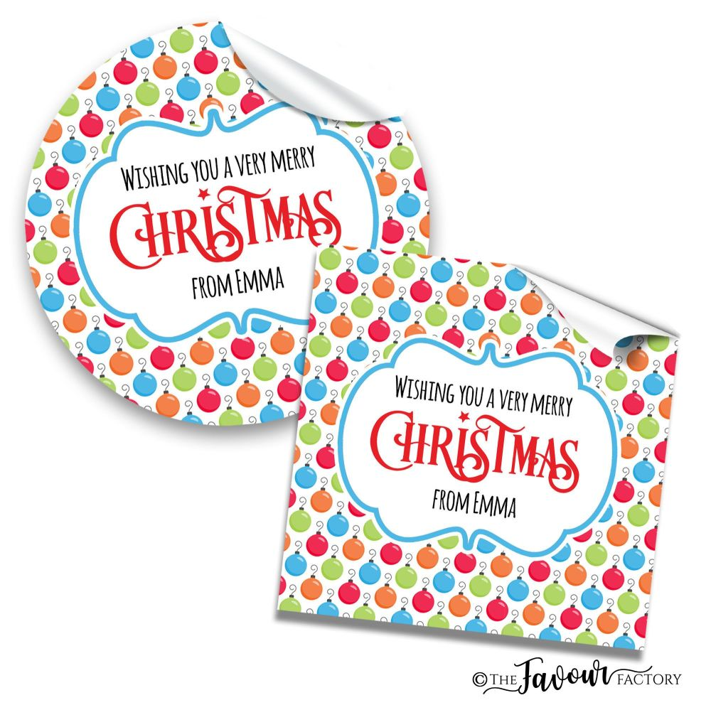 Personalised Christmas Stickers Bright Baubles