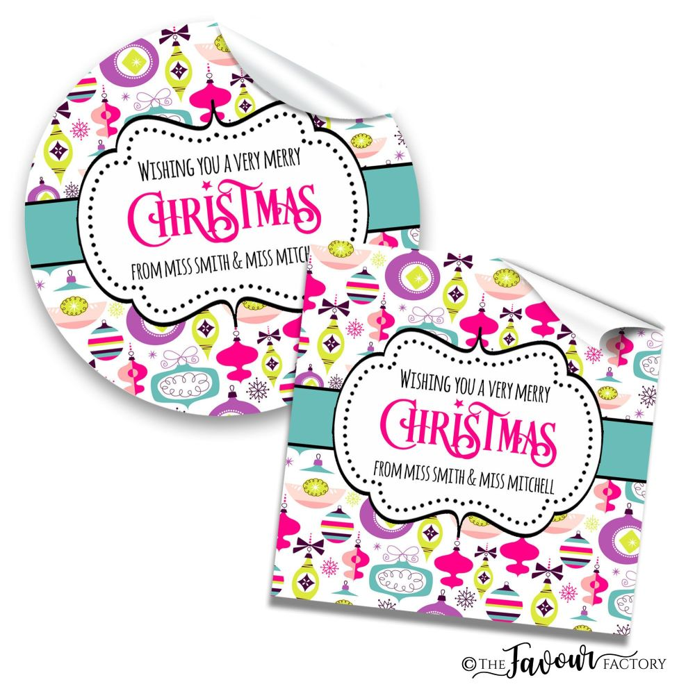 Personalised Christmas Stickers Retro Baubles