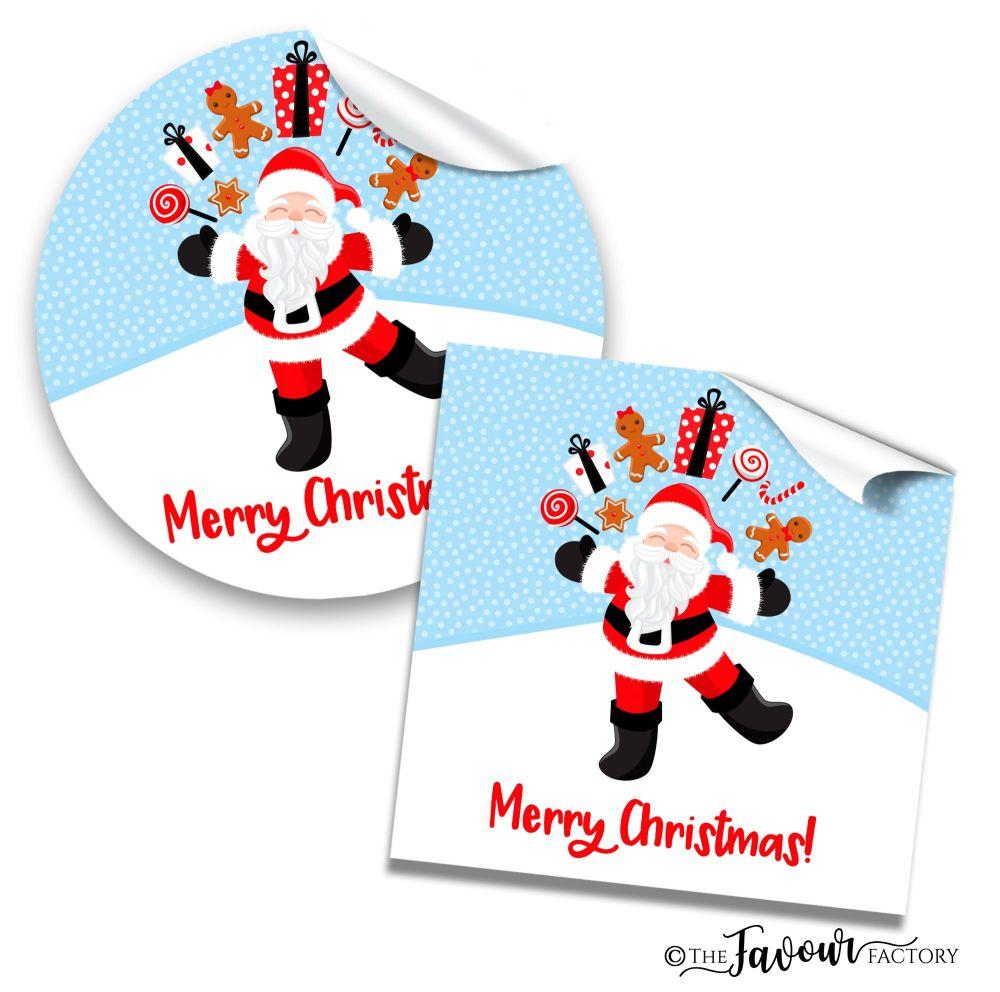 Christmas Stickers Juggling Santa
