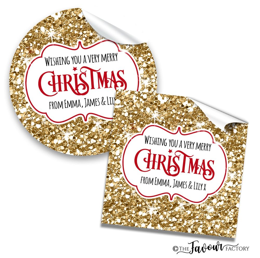 Personalised Christmas Stickers Gold Glitter