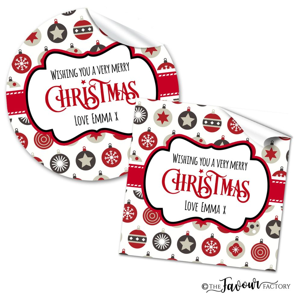 Christmas Stickers Grey and Red Baubles