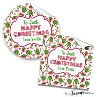 Personalised Christmas Stickers Elf Santa's Friend