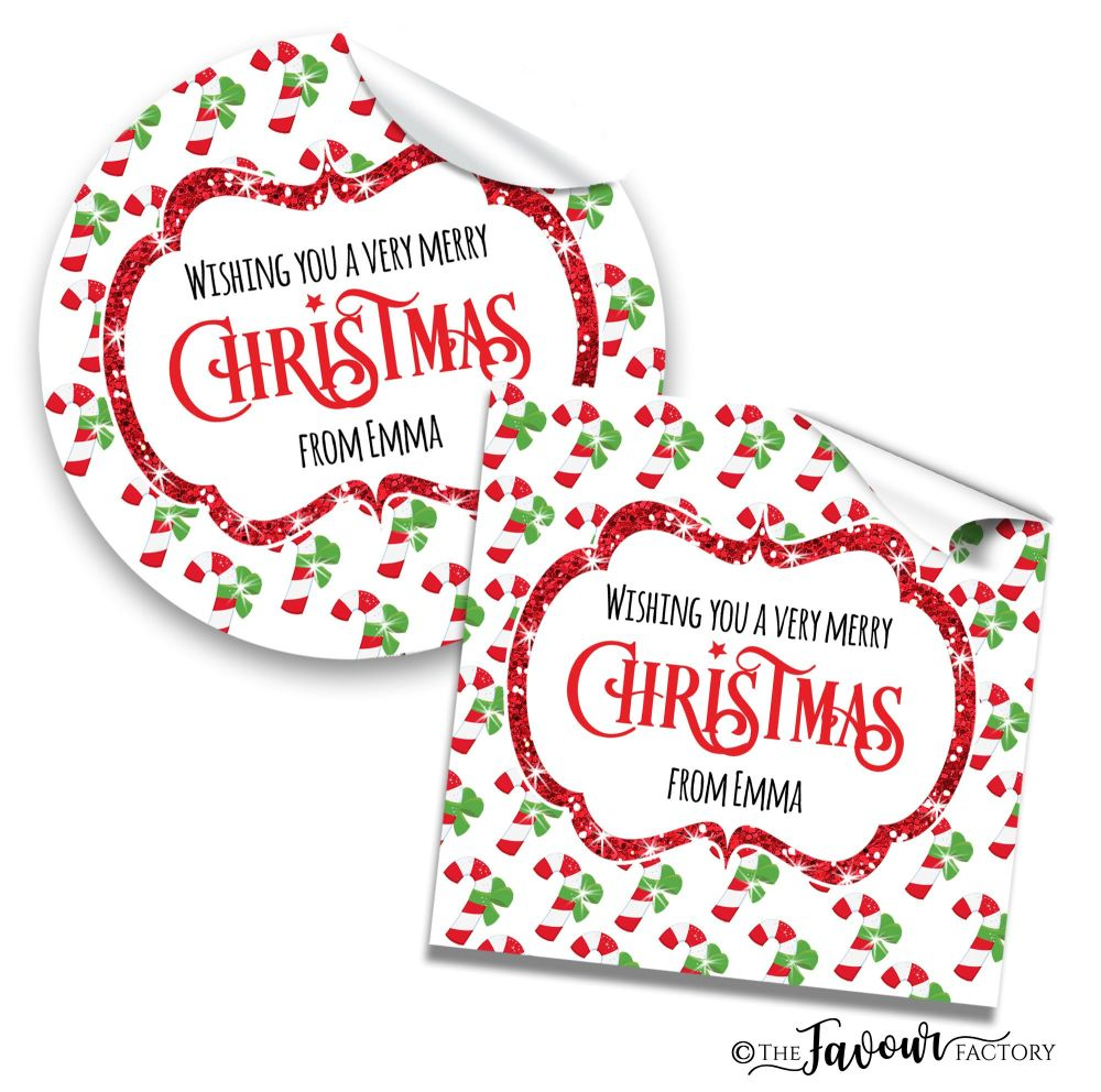 Christmas Stickers Candy Cane Glitter