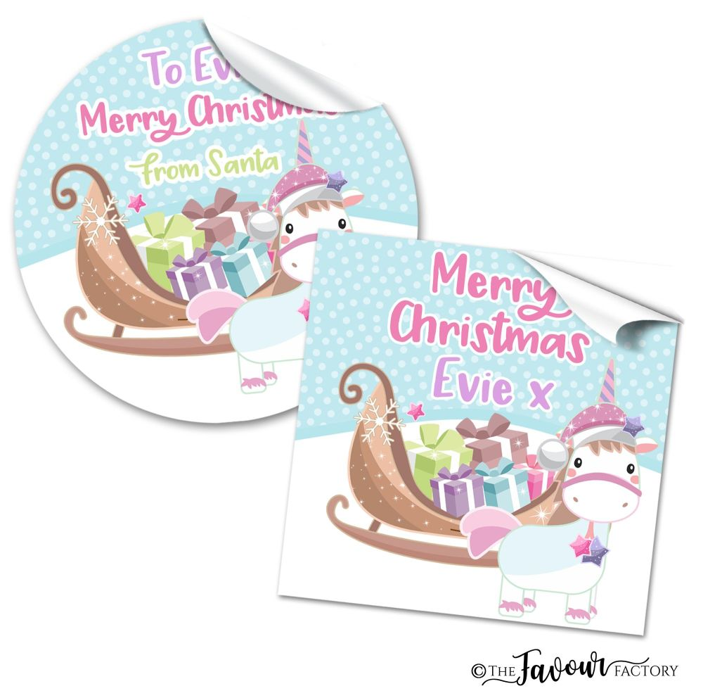 Personalised Christmas Stickers Unicorn Sleigh