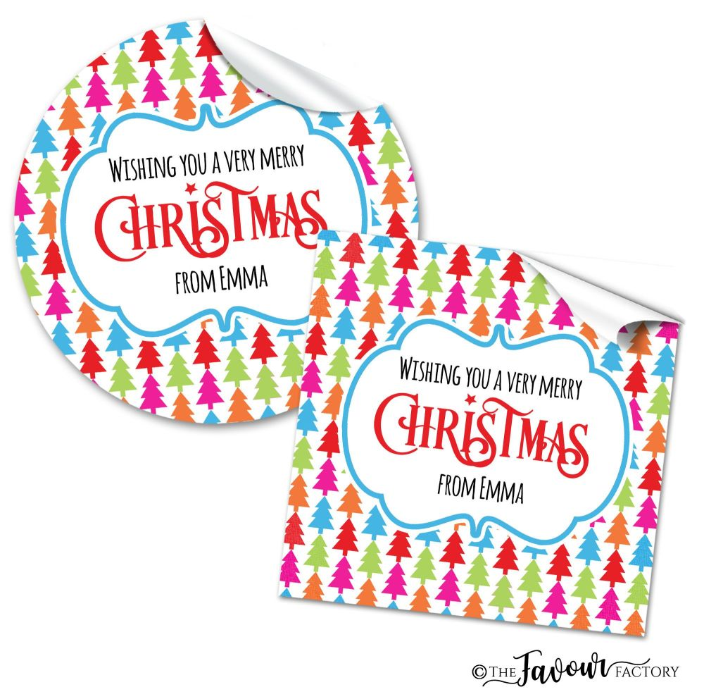 Christmas Stickers Bright Trees Theme