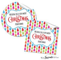 Personalised Christmas Stickers Bright Trees Theme