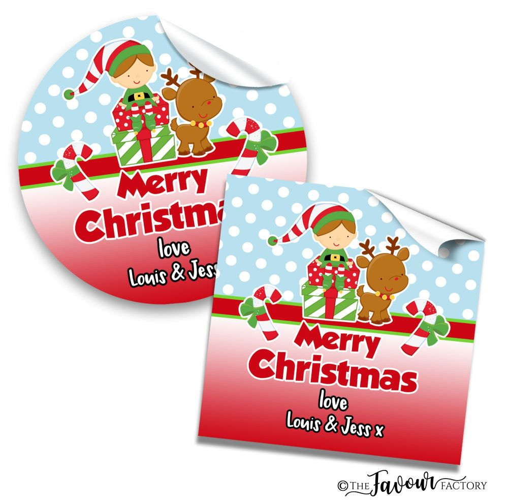 Christmas Stickers Elf on Presents