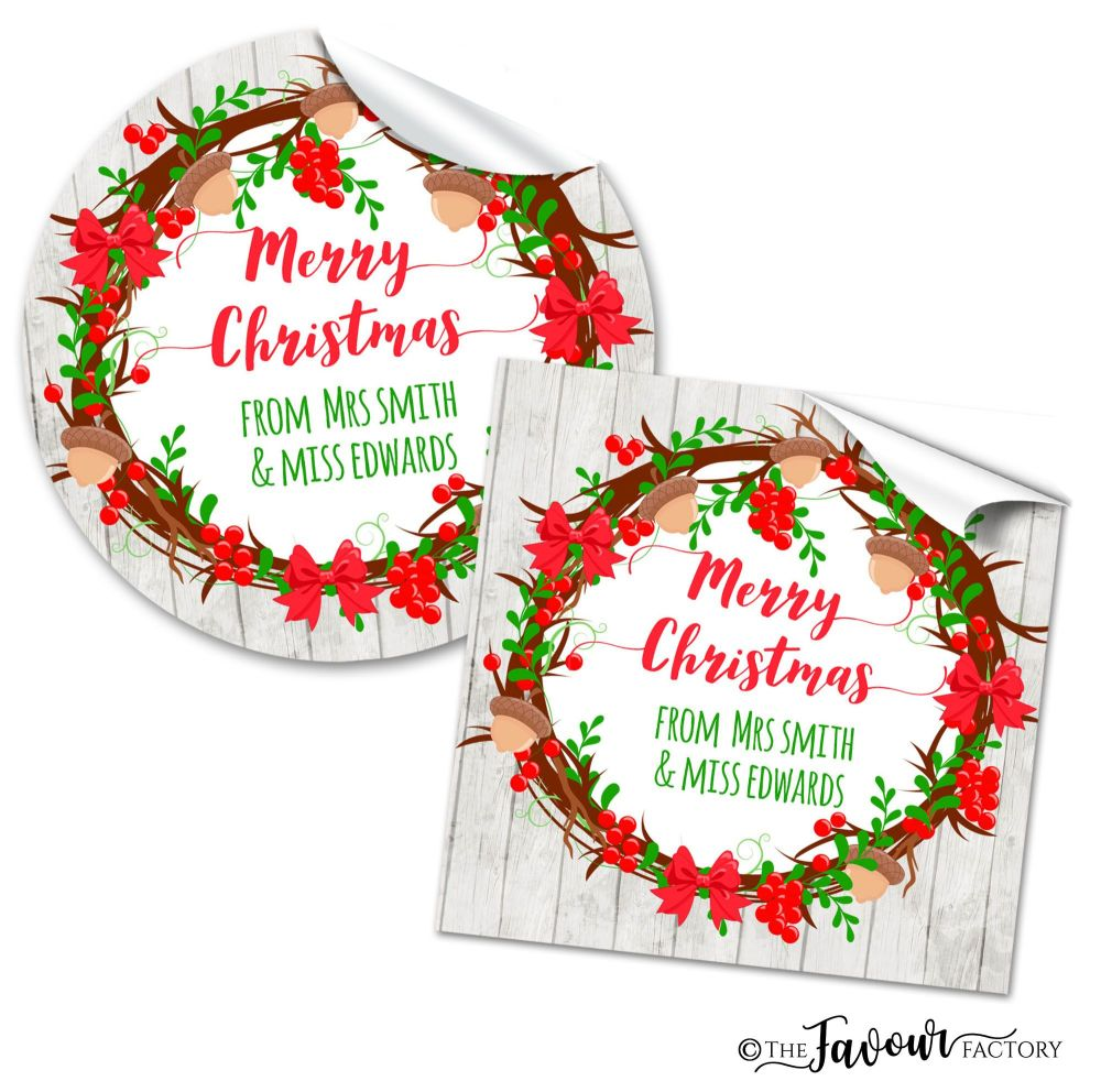 Christmas Stickers Acorn Holly Wreath