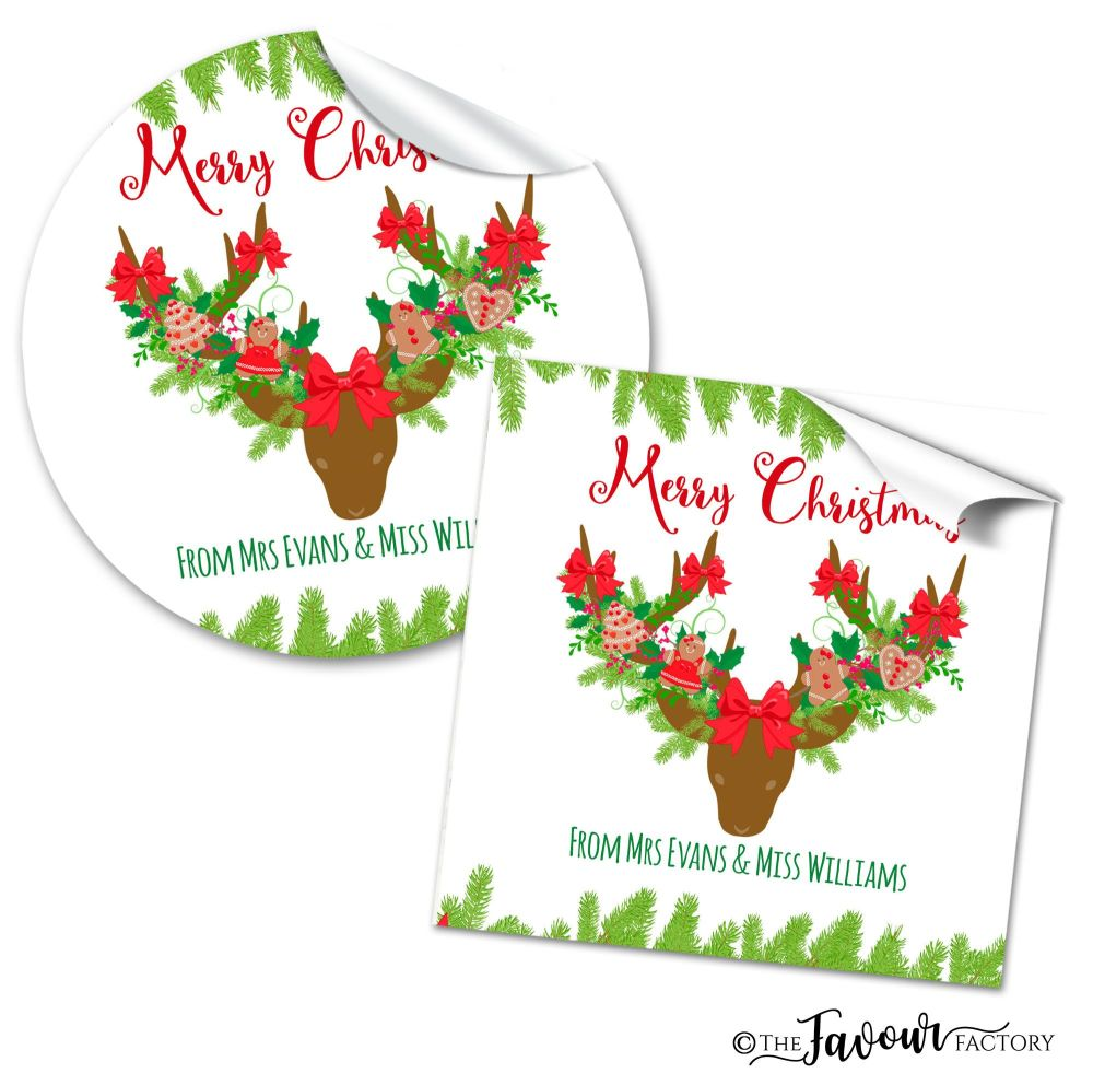 Christmas Gift Tag Stickers Decorated Antlers