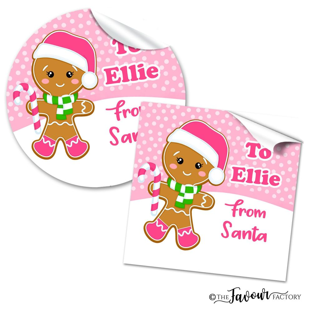 Personalised Christmas Stickers Gingerbread Girl