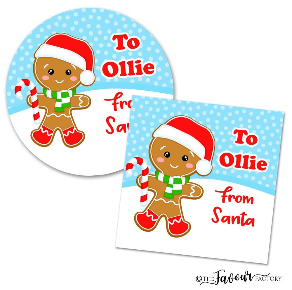 Personalised Christmas Stickers Gingerbread Boy