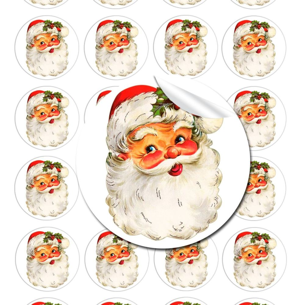 Traditional Vintage Santa Face Stickers