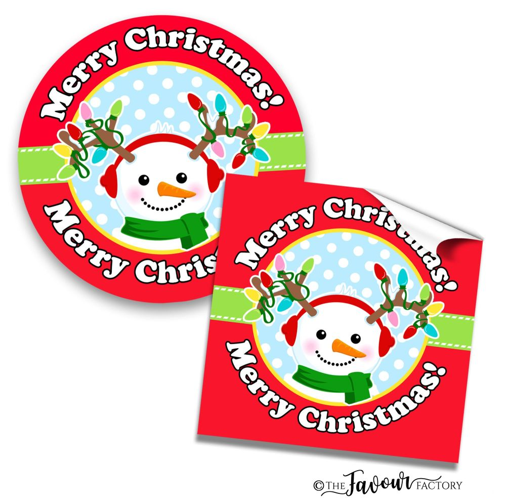 Personalised Merry Christmas Stickers Snowman Lights
