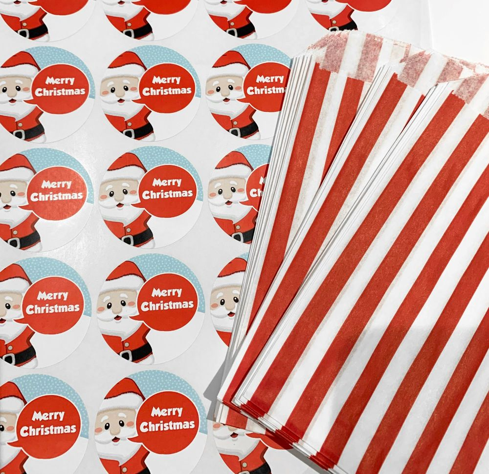 Christmas Red Stripe Sweet Bags And Stickers Santa x 24