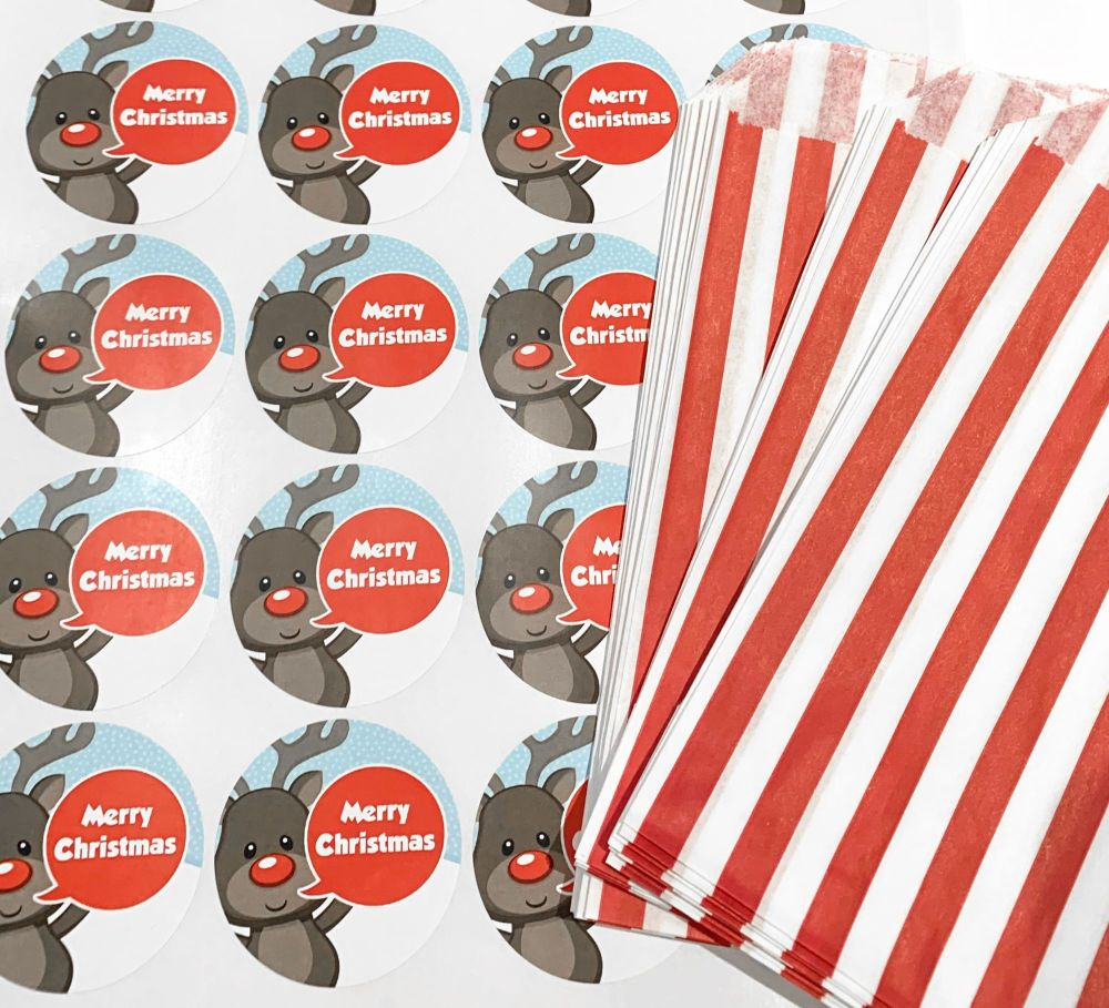 Christmas Red Stripe Sweet Bags And Stickers Rudolph x12