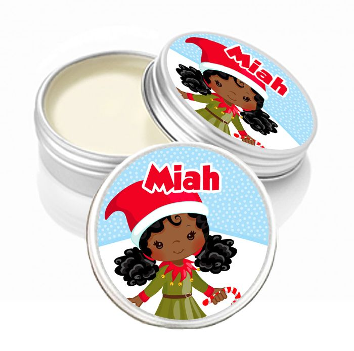 Personalised Christmas Lip Balm Afro Hair Little Girl x1
