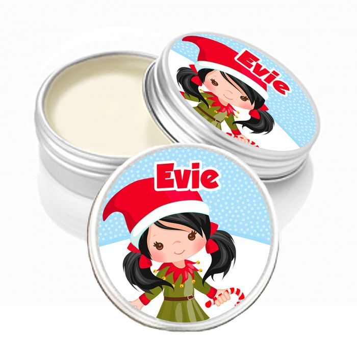 Personalised Christmas Lip Balm Black Hair Little Girl x1