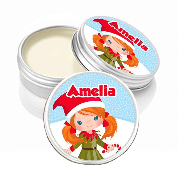 Personalised Christmas Lip Balm Ginger Hair Little Girl x1