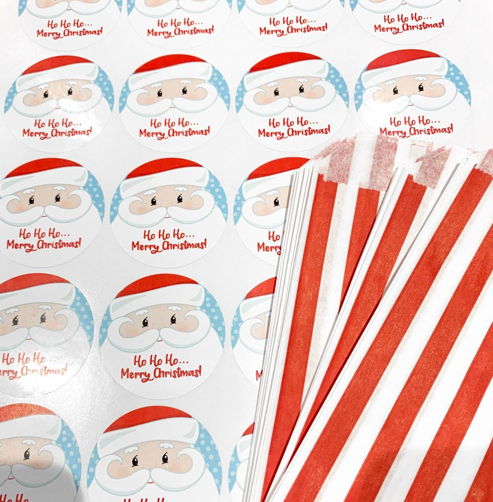 Christmas Red Stripe Sweet Bags And Stickers Santa Face x 24