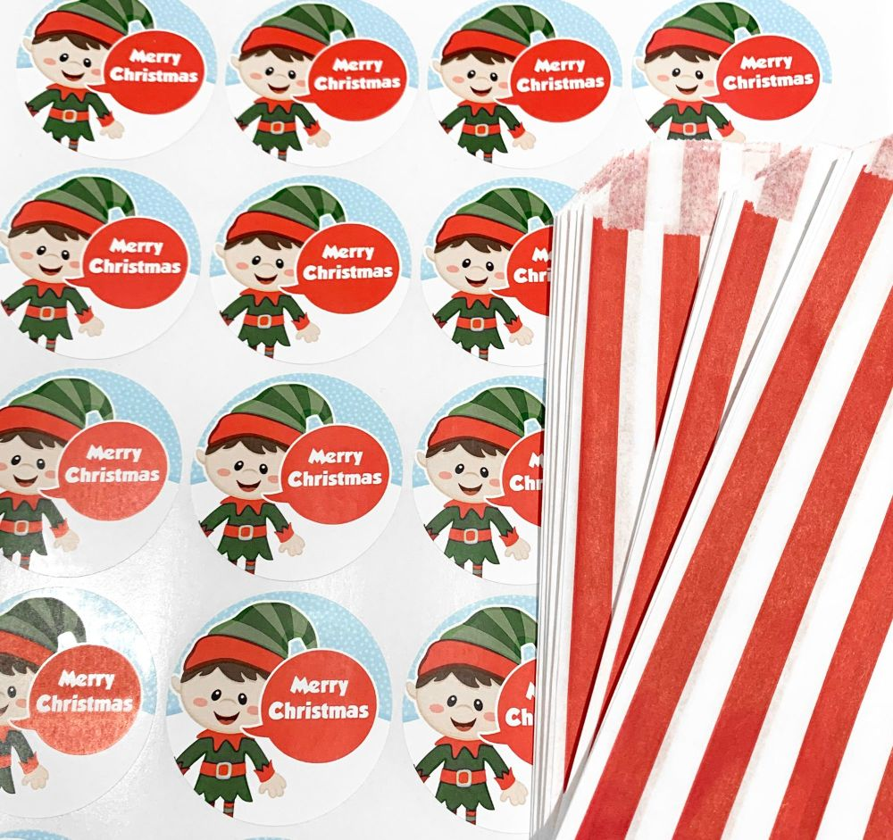 Christmas Red Stripe Sweet Bags And Stickers Elf x 24