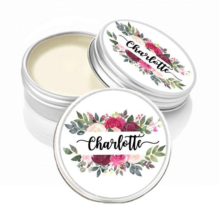 Personalised Lip Balm Burgundy Blush Florals
