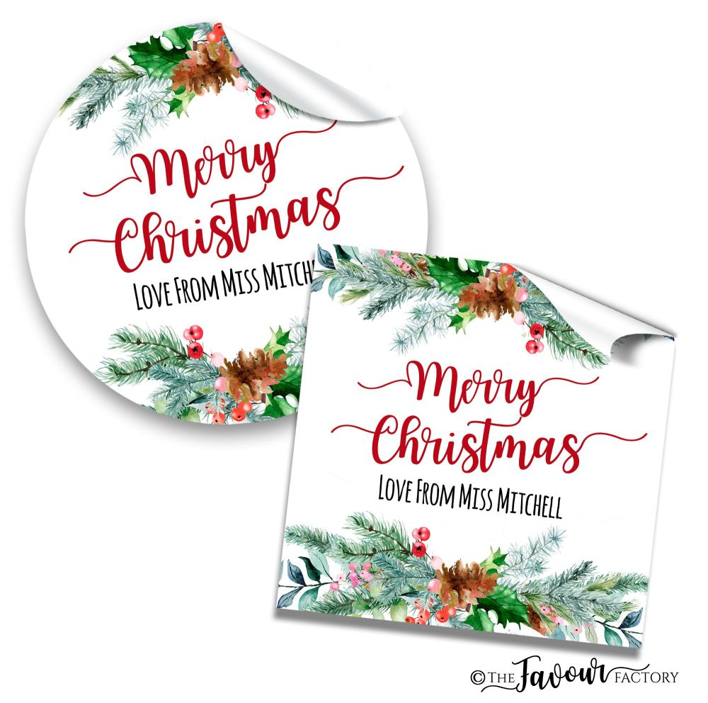 Personalised Christmas Stickers Holly Pinecone Berry Bouquet