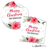 Personalised Christmas Stickers Flaming Poinsettia