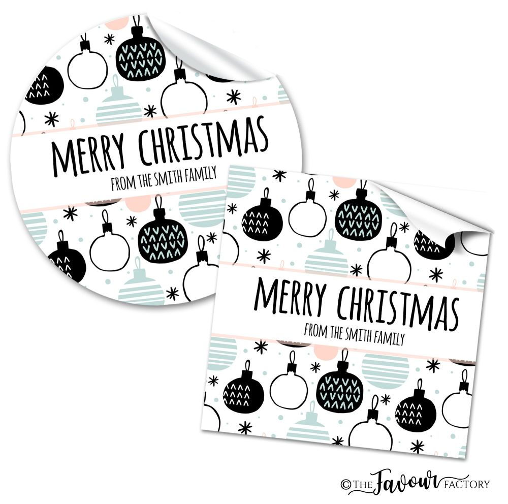 Personalised Christmas Stickers Modern Baubles