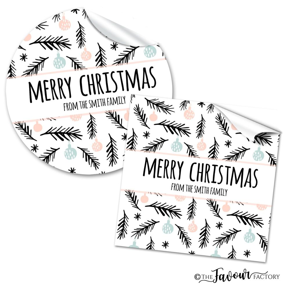 Personalised Christmas Stickers Modern Pine & Baubles