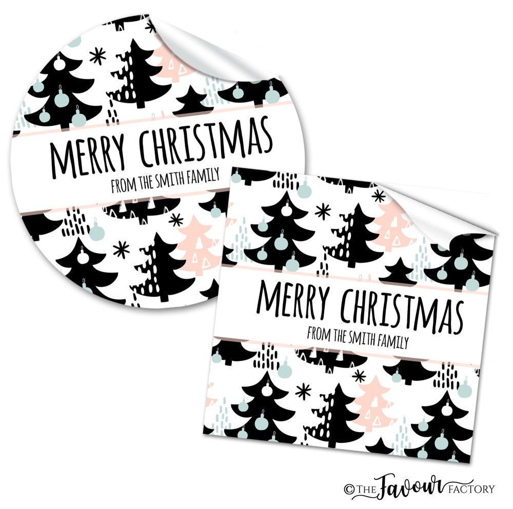 Personalised Christmas Stickers Mod Trees