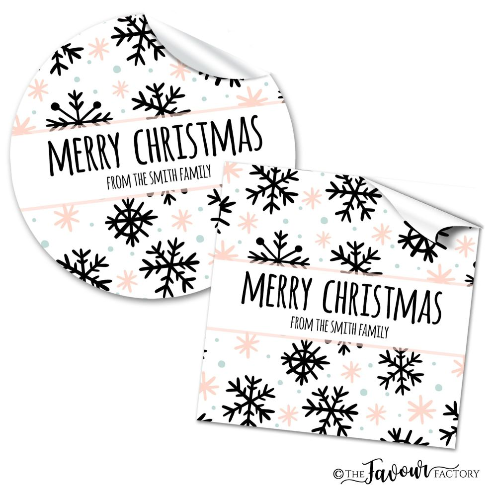 Personalised Christmas Stickers Mod Snowflakes