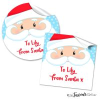 Personalised Christmas Stickers Santa Face