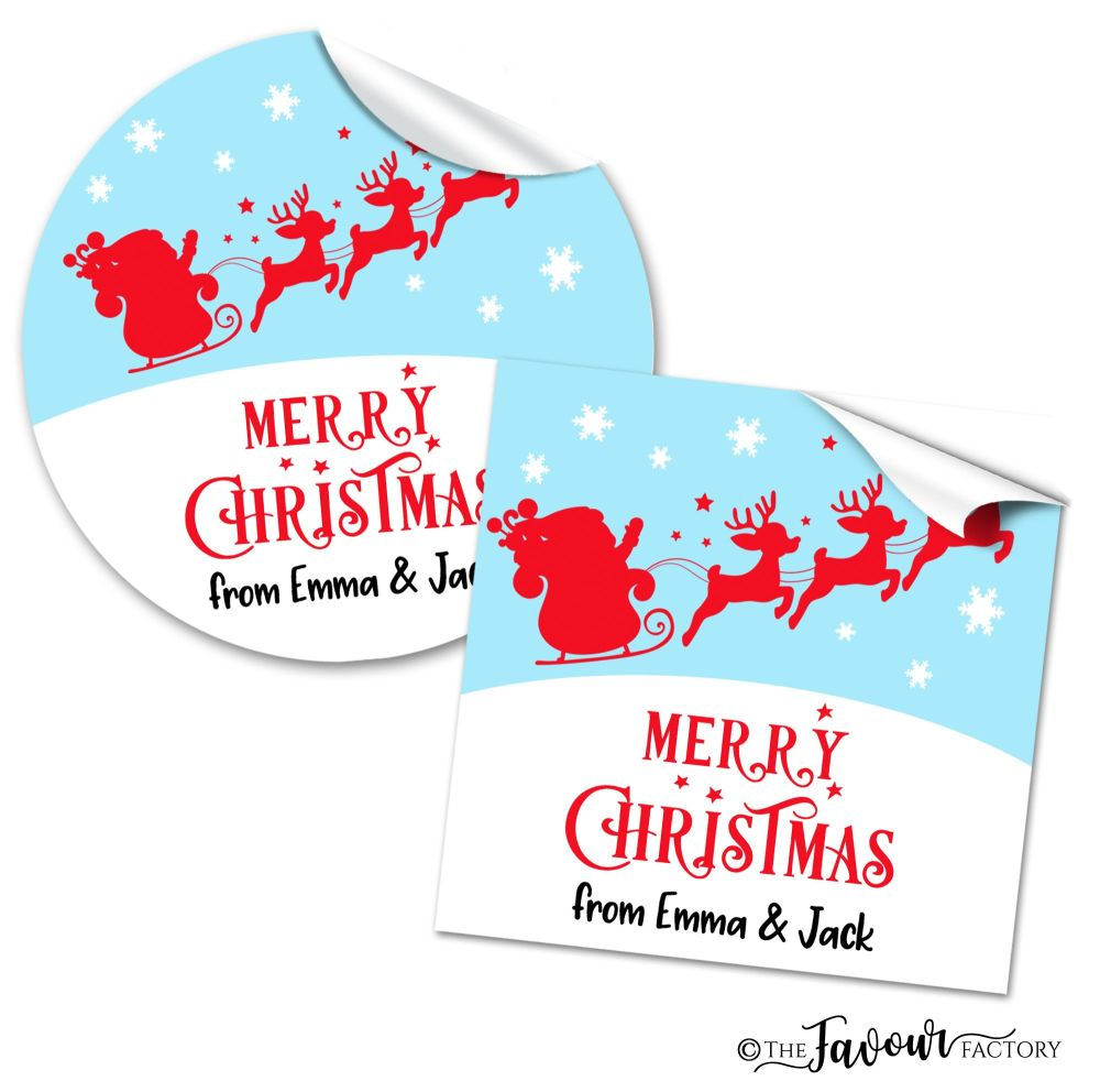 Personalised Christmas Stickers Sleigh In Sky
