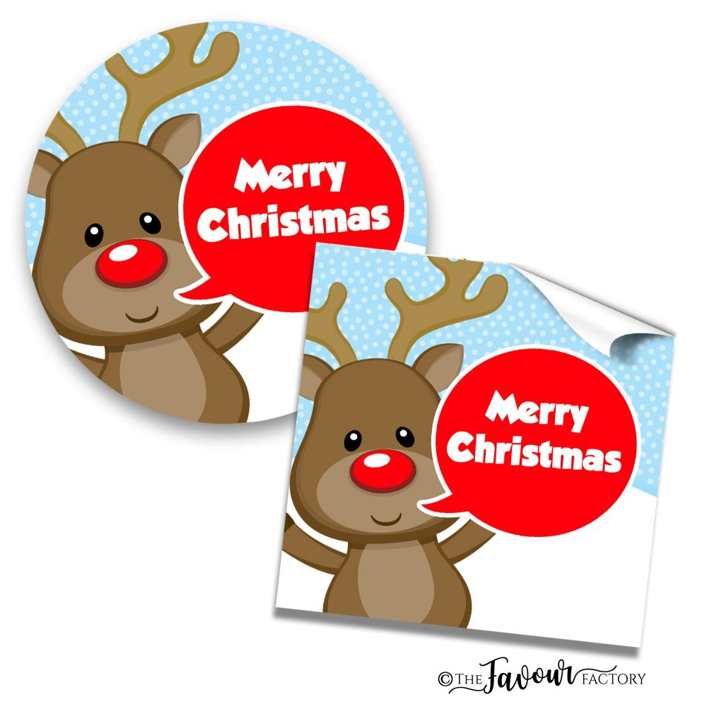 Personalised Christmas Stickers Rudolph Speech Bubble