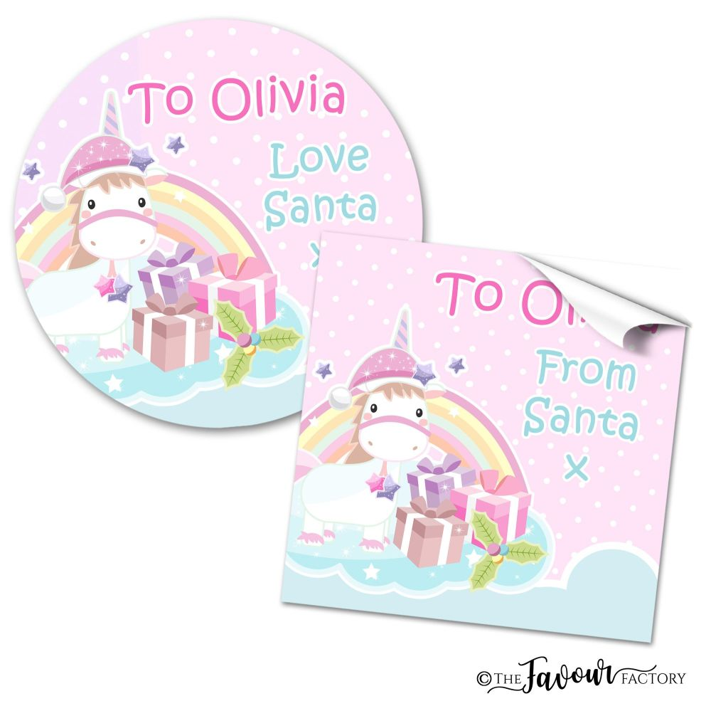 Personalised Christmas Stickers Cute Unicorn