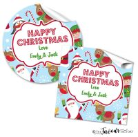 Personalised Christmas Stickers Santa's Friends