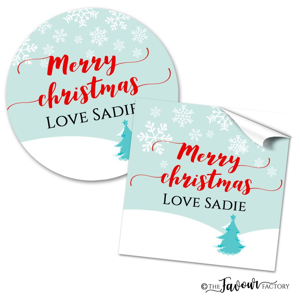 Personalised Christmas Stickers Snowy Tree
