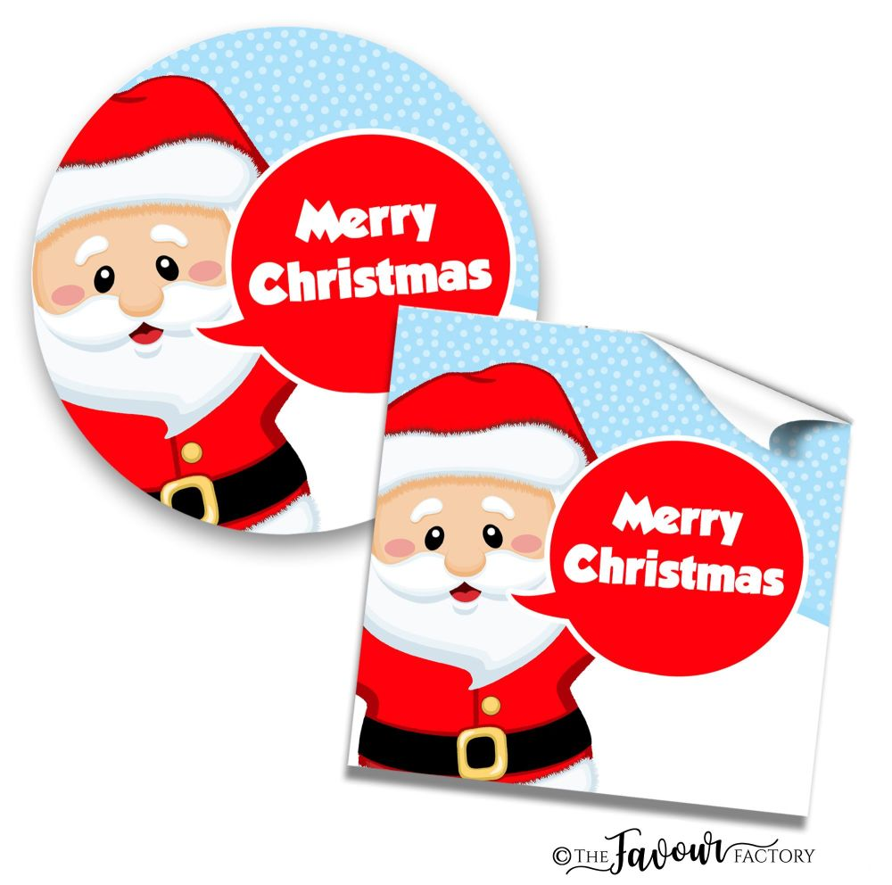 Personalised Christmas Stickers Santa Speech Bubble