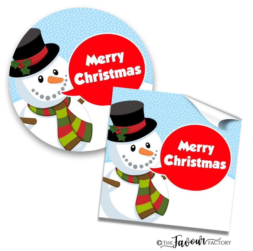 Personalised Christmas Stickers Snowman Speech Bubble