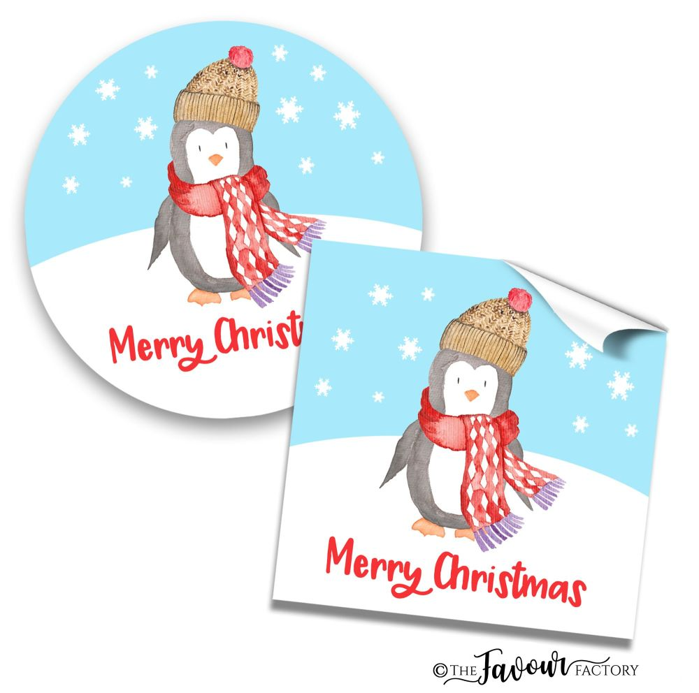 Personalised Christmas Stickers Penguin In Hat