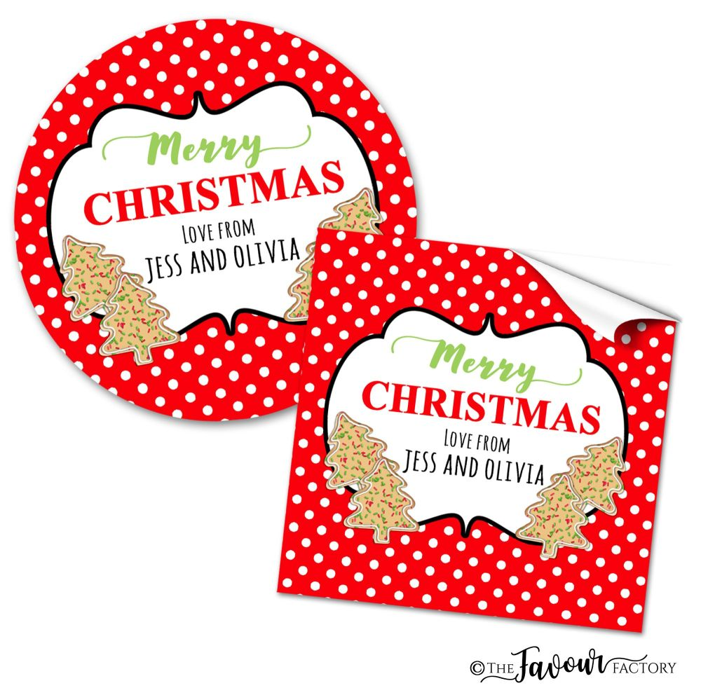 Christmas Stickers Polka Dot Cookies