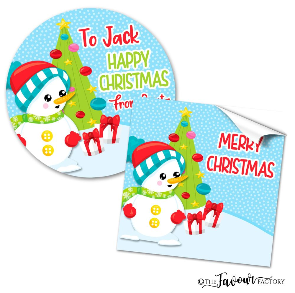 Christmas Stickers Snowman Buttons
