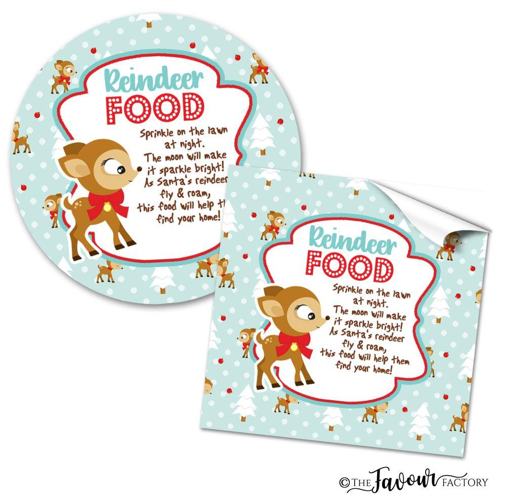 Christmas Stickers Vintage Reindeer Food