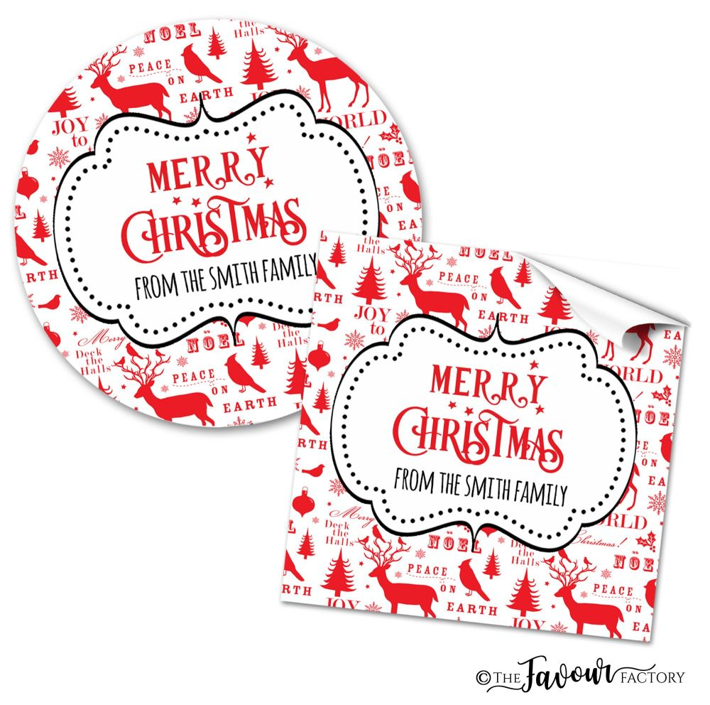 Personalised Christmas Stickers Noel Retro
