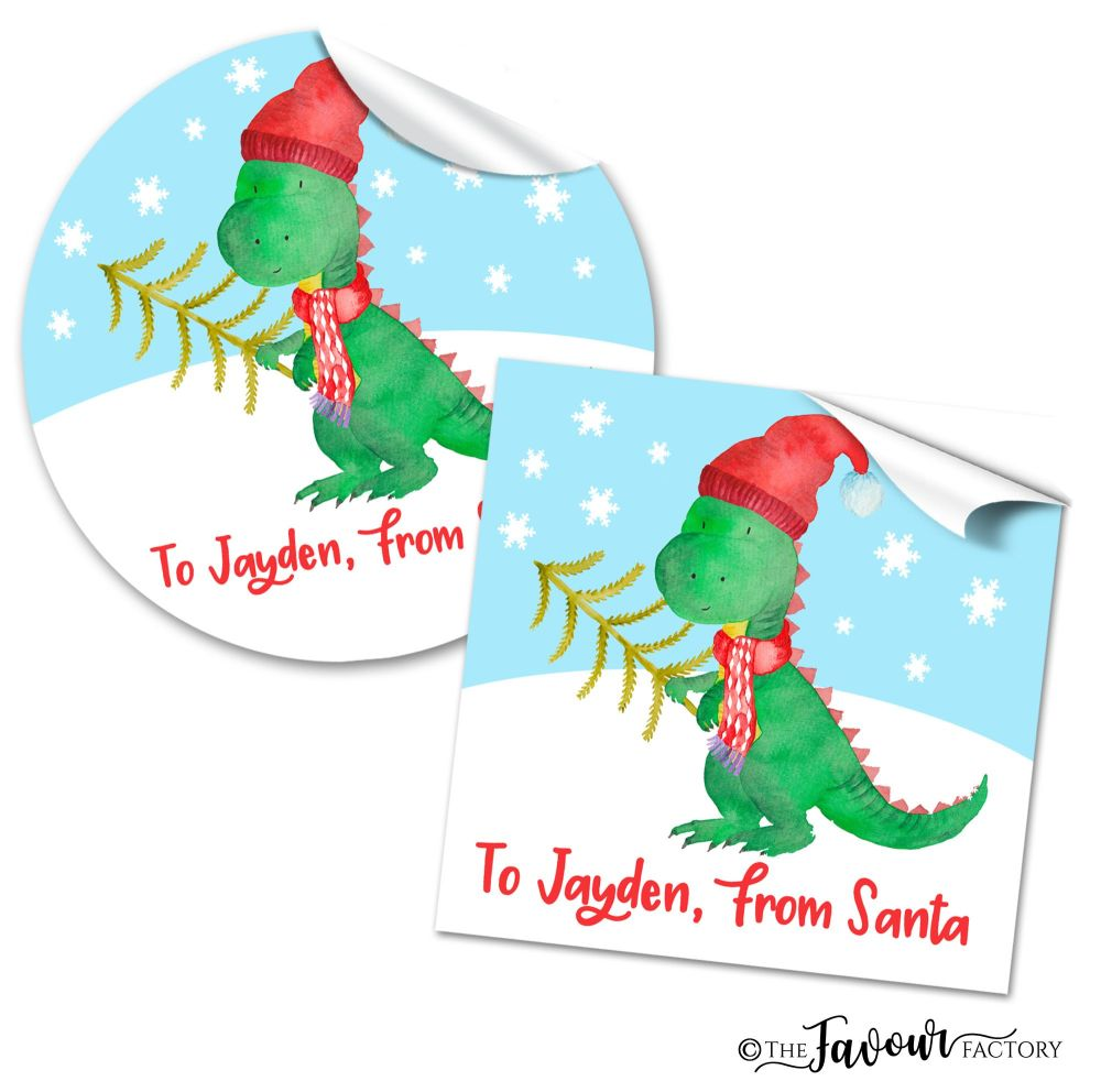Personalised Christmas Stickers Dinosaur