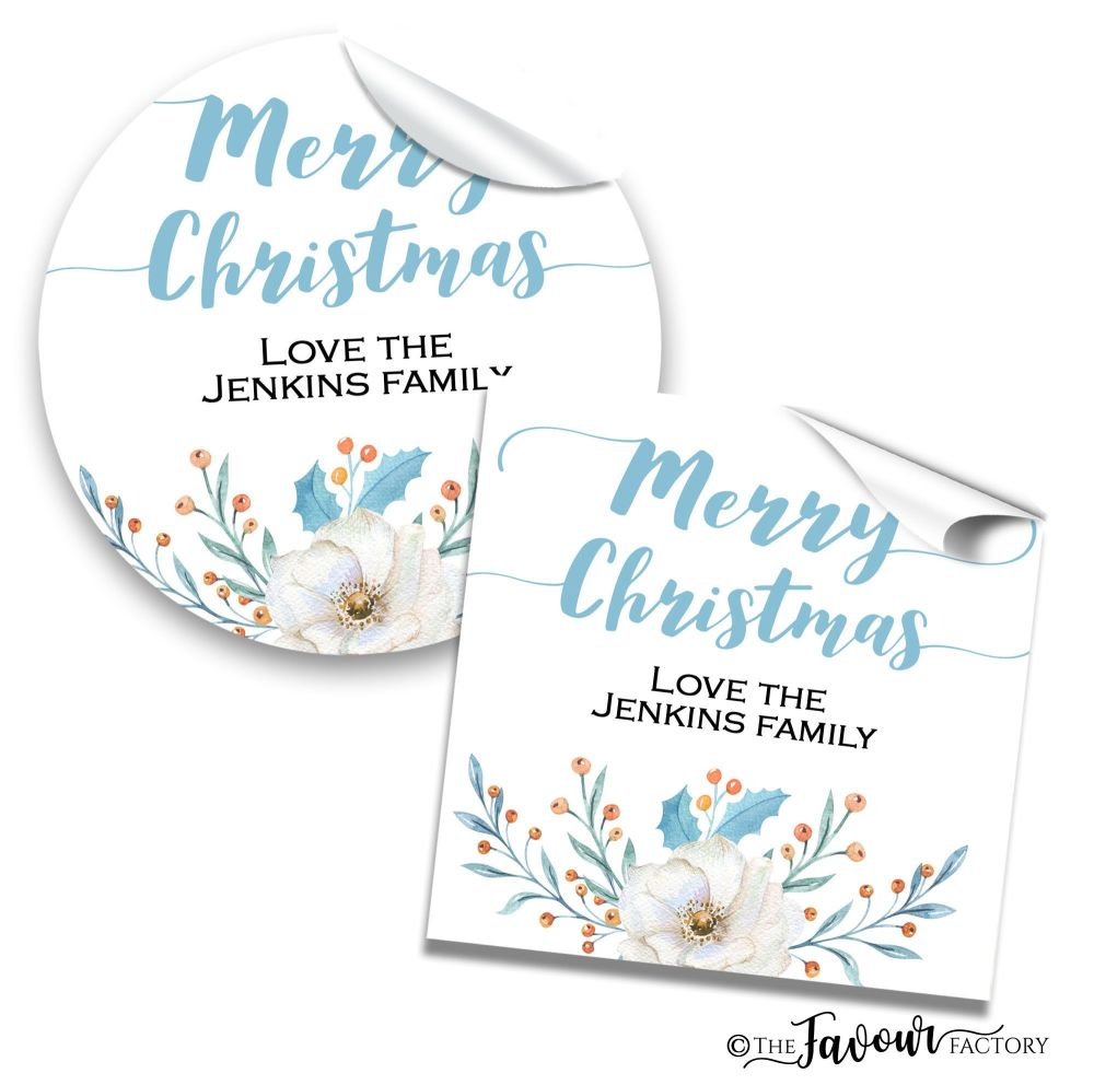 Personalised Christmas Stickers Winter Floral Bouquet
