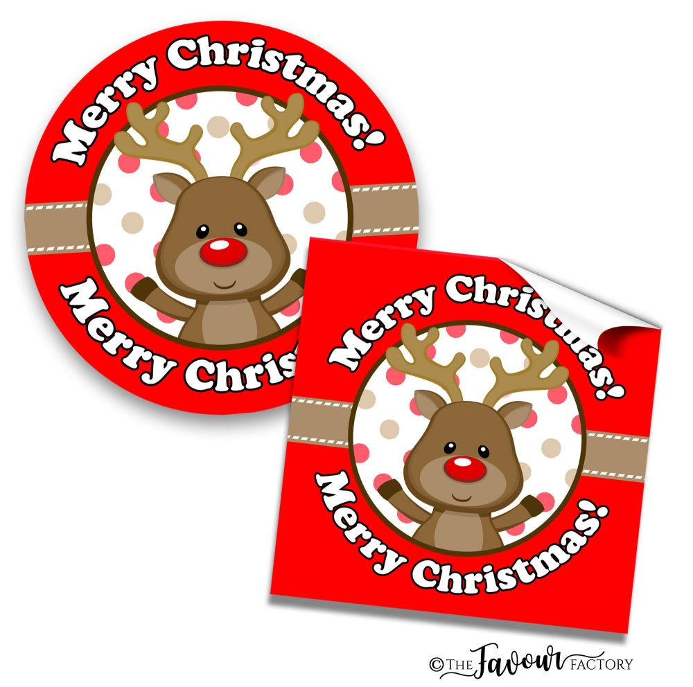 Personalised Christmas Stickers Rudolf in Santa Hat