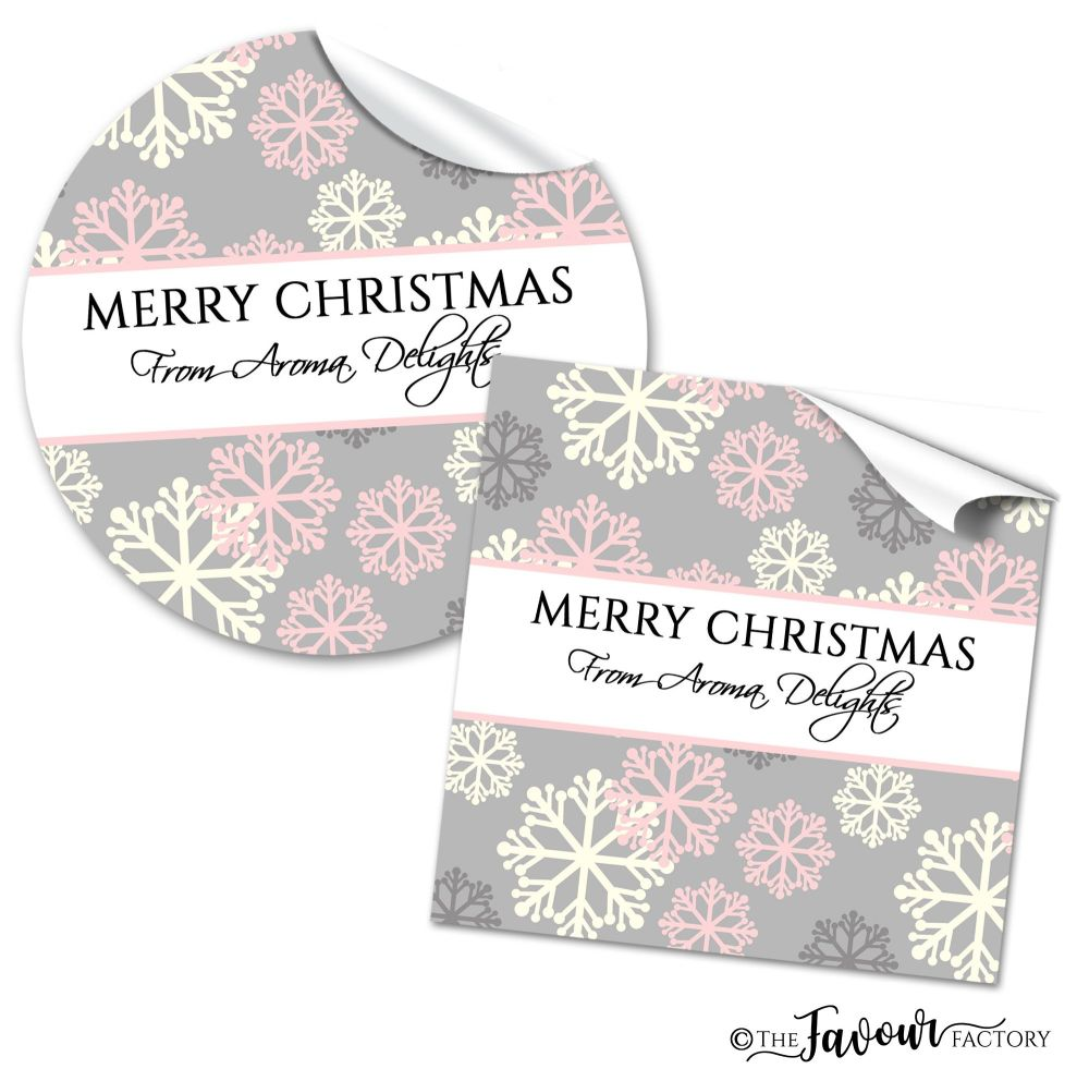 Personalised Christmas Stickers Pink & Grey Snowflakes