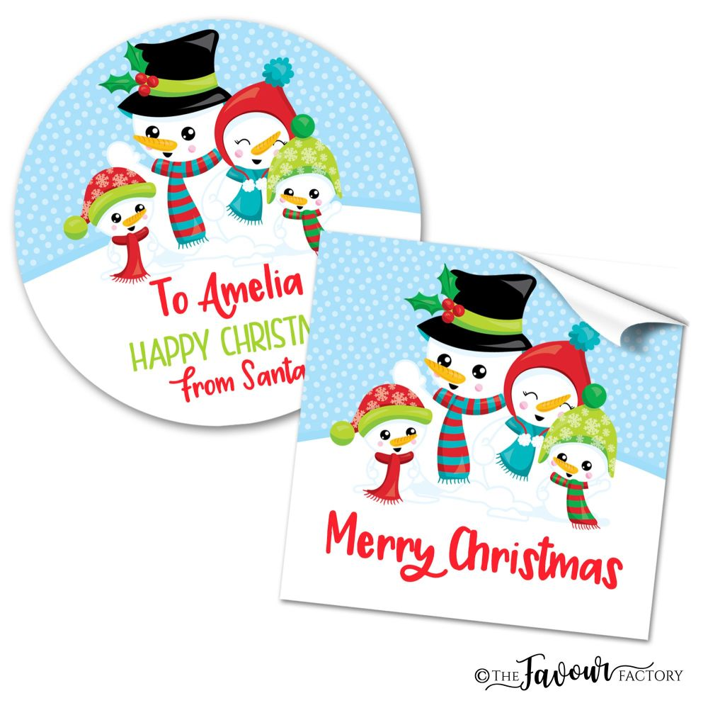 Personalised Christmas Stickers Snowman Family
